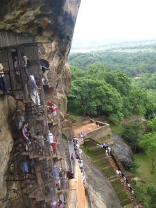 Scary. Climbing up Sigiriya rock.